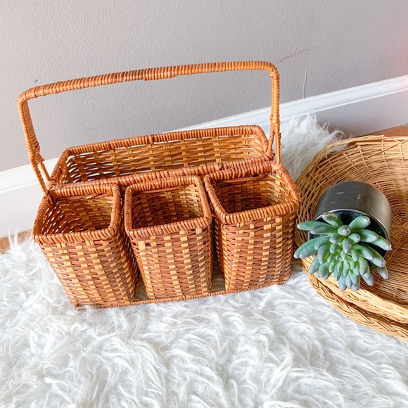 Boho Silverware Picnic Utensil Divided Basket